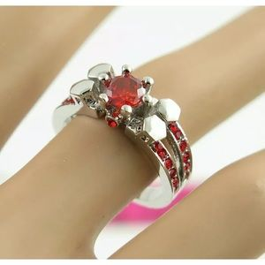 NWT SILVER RED CRYSTAL RING